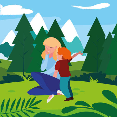 beautiful mother with son in the landscape vector illustration design Ilustrace