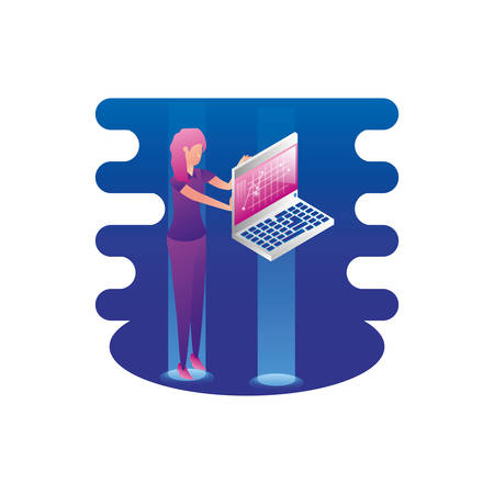 businesswoman worker lifting laptop computer vector illustration design Illusztráció