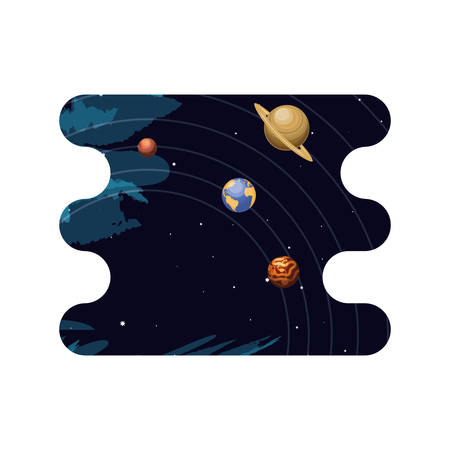 system solar planets scene space vector illustration design
