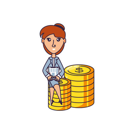 business woman sitting in pile coins vector illustration design
