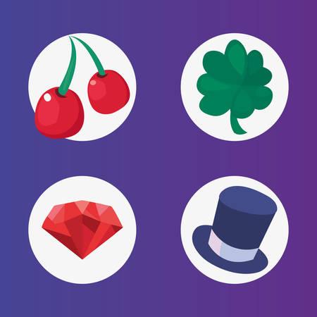 cherry clover diamond hat casino game bets vector illustration