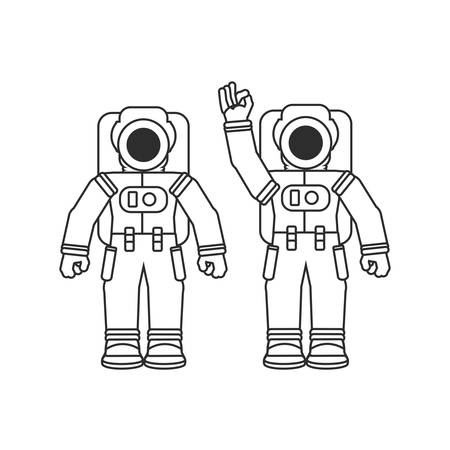 group of astronauts suits isolated icon vector illustration design Çizim