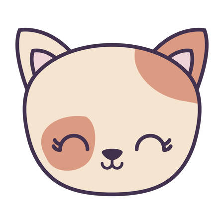 head of cute cat animal isolated icon vector illustration design