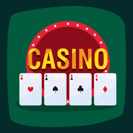 aces poker cards casino game bets vector illustration Ilustrace
