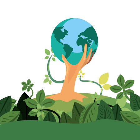 trunk tree world shape happy earth day vector illustration