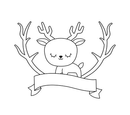 cute reindeer animal with ribbon and branches vector illustration design Illustration