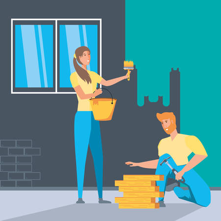 couple in interior of house under construction vector illustration design Ilustração