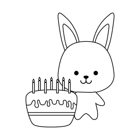 cute rabbit with cake of birthday vector illustration design