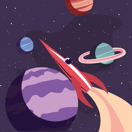rocket planets mission explore galaxy vector illustration