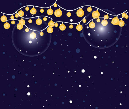 night sky and light bulbs hanging vector illustration design