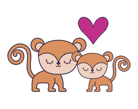 couple of cute monkey animal isolated icon vector illustration design