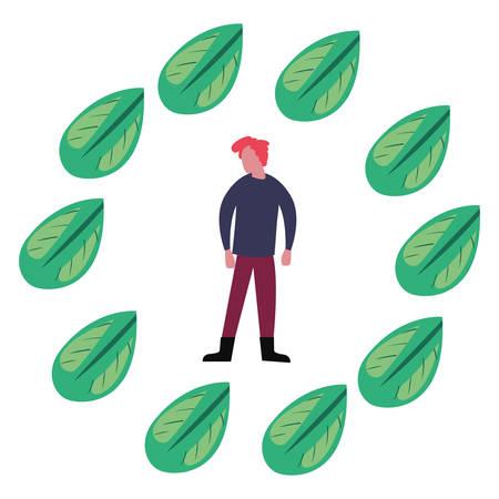 man foliage leaves earth day vector illustration Çizim