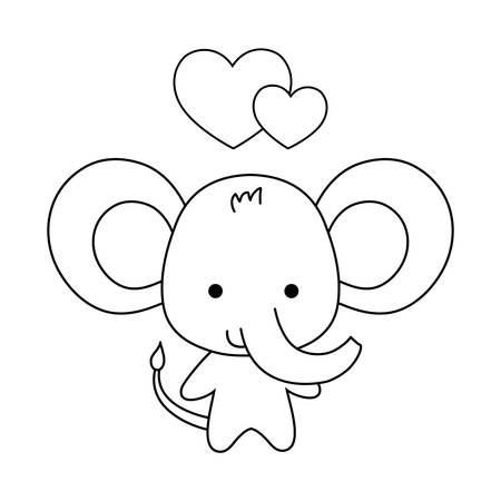cute elephant animal with hearts love vector illustration design
