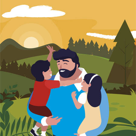 father with son and daughter characters in the field vector illustration design Ilustrace