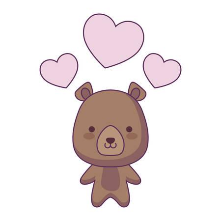 cute bear animal with hearts love vector illustration design Illustration