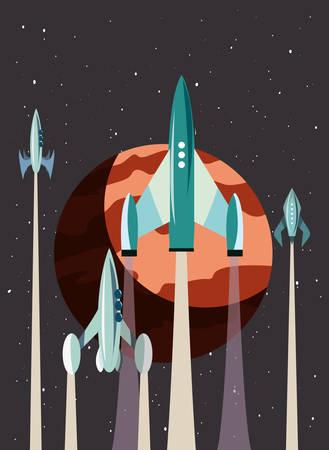 rockets planets space exploration vector illustration design