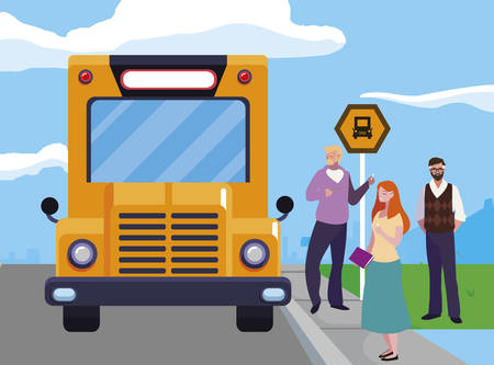 teachers group in the bus stop vector illustration design 向量圖像