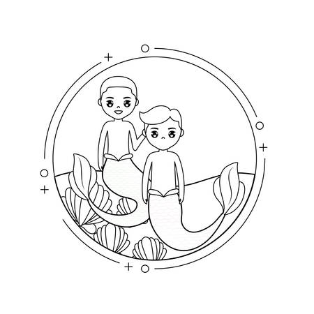 mermaids male with sea in frame circular vector illustration design