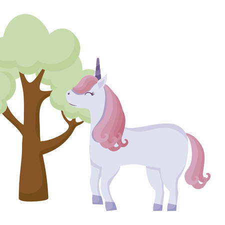 cute unicorn animal with tree plant vector illustration design Çizim