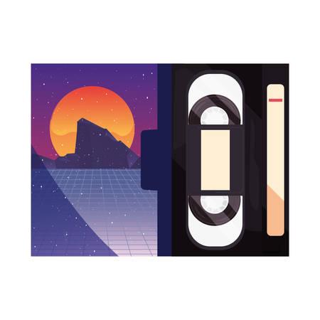 videotape beta box cover retro 80s style white background vector illustration Иллюстрация