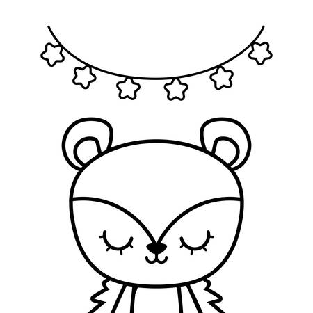 cute porcupine animal with garlands hanging vector illustration design Ilustração
