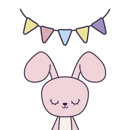 cute rabbit with garlands hanging vector illustration design Illustration
