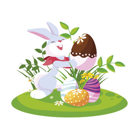 cute rabbit easter with eggs painted in the garden vector illustration design Illusztráció