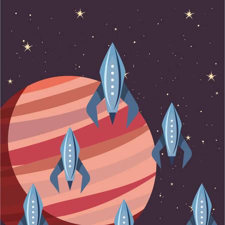 launching rocket spaceships mission vector illustration design  イラスト・ベクター素材