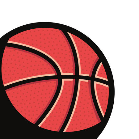 flying basketball ball sport stamp vector illustration