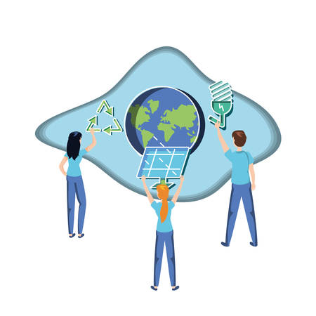people with planet and panel solar in eco friendly vector illustration design