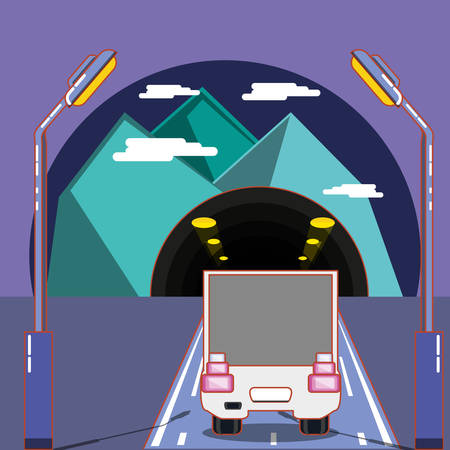 cargo truck on the road and tunnel over purple background, colorful design. vector illustration Stock Illustratie