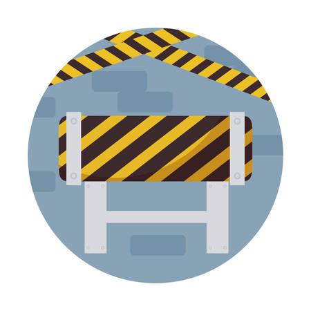 barricade signaling in frame circular vector illustration design Ilustração