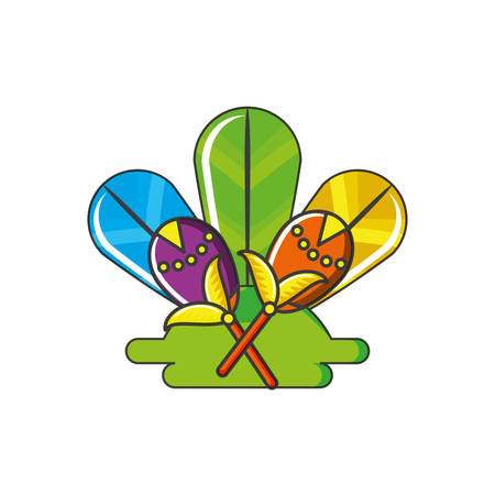 carnival maracas with feathers decoration vector illustration design