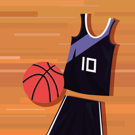 basketball uniform sport jersey shorts ball vector illustration