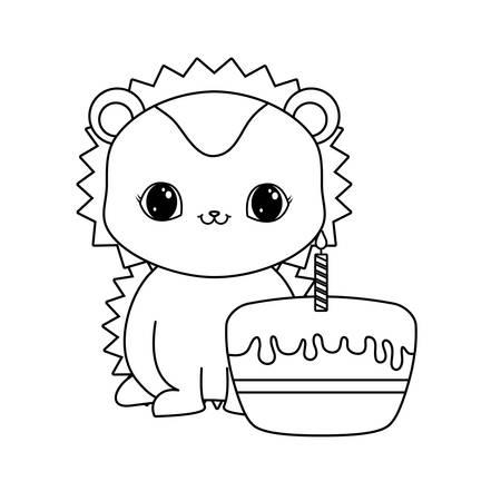 cute porcupine animal with cake of birthday vector illustration design Ilustração