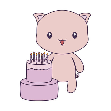 cute piggy animal with cake of birthday vector illustration design