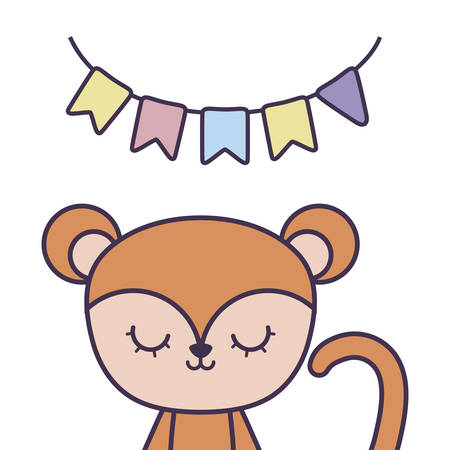 cute monkey animal with garlands hanging vector illustration design