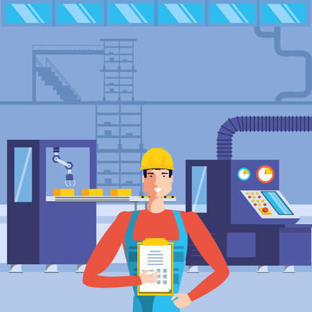 industrial worker in technified factory vector illustration design