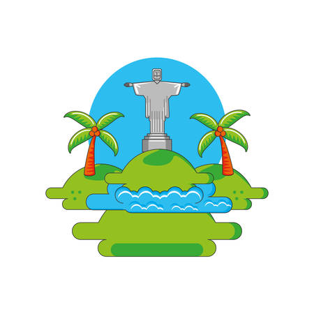 corcovado christ monument with landscape vector illustration design