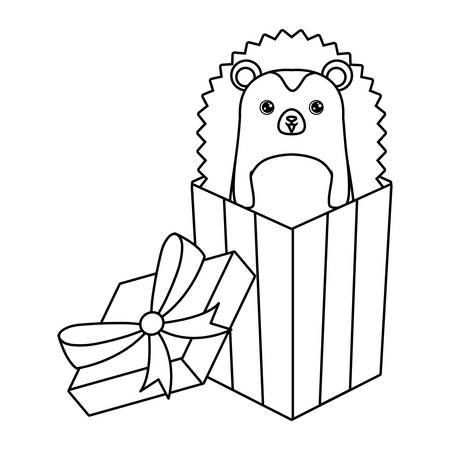 cute porcupine animal in gift box vector illustration design