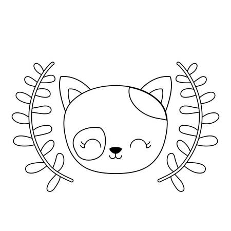 cute cat animal with crown leafs vector illustration design