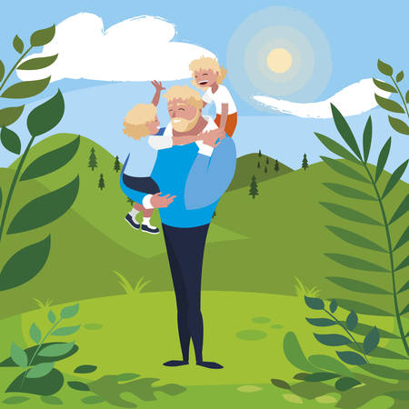 father with sons characters in the field vector illustration design