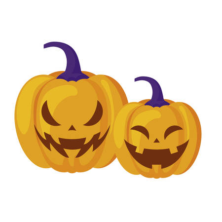 halloween pumpkins traditional isolated icon vector illustration design