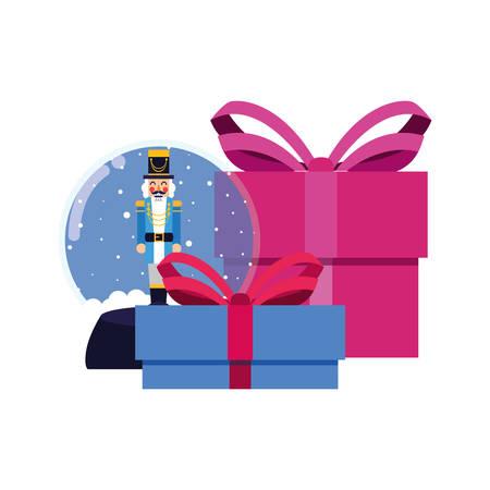 christmas nutcracker snow globe and gift vector illustration 向量圖像