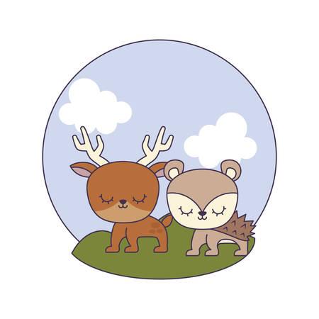 cute porcupine with reindeer in landscape vector illustration design