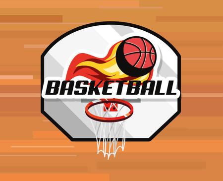 flaming basketball ball sport basket badge vector illustration