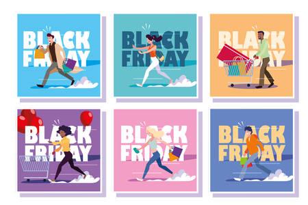 set of cards with black friday label vector illustration design Ilustração