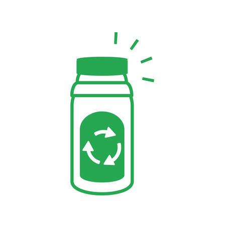 recycling arrows with bottle beverage vector illustration design