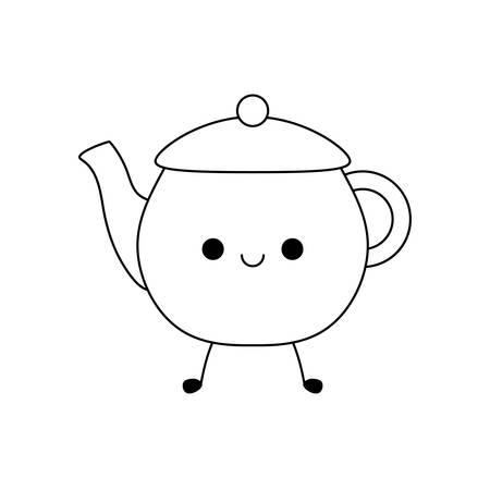 cute teapot kitchen kawaii style vector illustration design