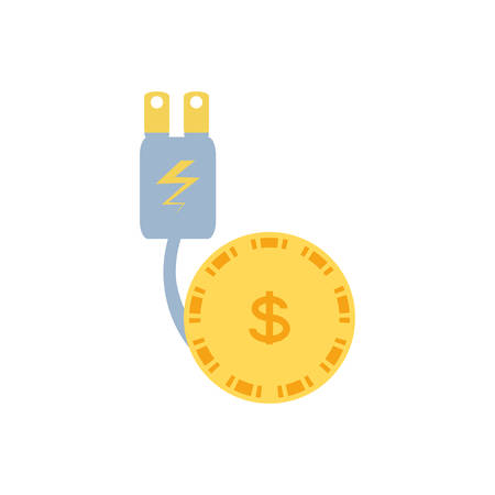energy plug with money coin vector illustration design